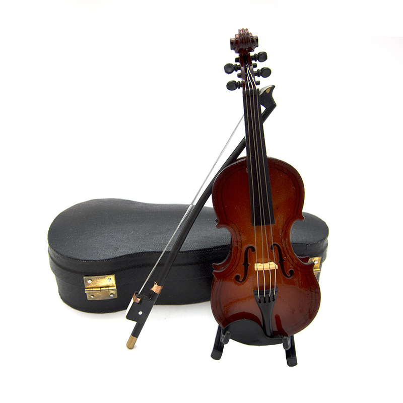 1Pcs Wooden Miniature Violin Model With Support And Case Mini Musical Instrument 1/12 Dollhouse 1/6 Action Figure Accessories