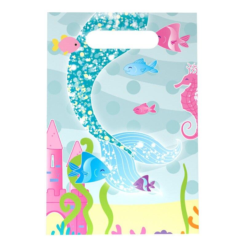 20 pçs/lote novo estilo menino menina do bebê feliz aniversário decorações de festa dos desenhos animados sereia suprimentos de festa crianças saco de saque sacos de presente