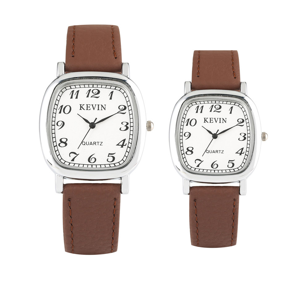 New Fashion 2019 KEVIN Couple Men Women Watches Casual Business Leather Arabic Numerals Wristwatch Stylish Lovers' Clock Gifts