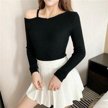 Suéter de talla grande 4xl para mujer primavera Otoño Invierno 2020 nuevos suéteres femeninos de color puro negro blanco sexy para mujer a5241