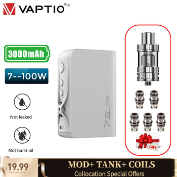 Vaptio P3 Box Mod Vape kit with coils vape kit 100W 3000mAh built-in battery 2ML tank 2 colors availble electronic cigarette