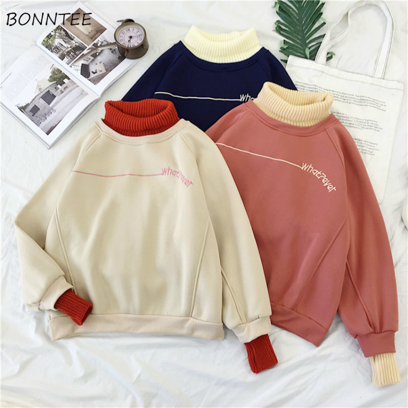 Hoodies Women Turtleneck Patchwork Thicker Winter Outwear Hoodie Korean New Streetwear Womens Casual Pullover Letter Long Sleeve