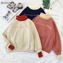 Hoodies Women Turtleneck Patchwork Thicker Winter Outwear Hoodie Korean New Streetwear Womens Casual Pullover Letter Long Sleeve