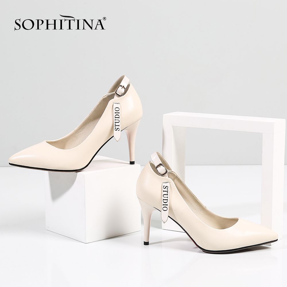 SOPHITINA Mature Women' s Pumps Belt Buckle Decoration Letter Print High Quality Cow Leather Solid Shoes New Fashion Pumps SO415