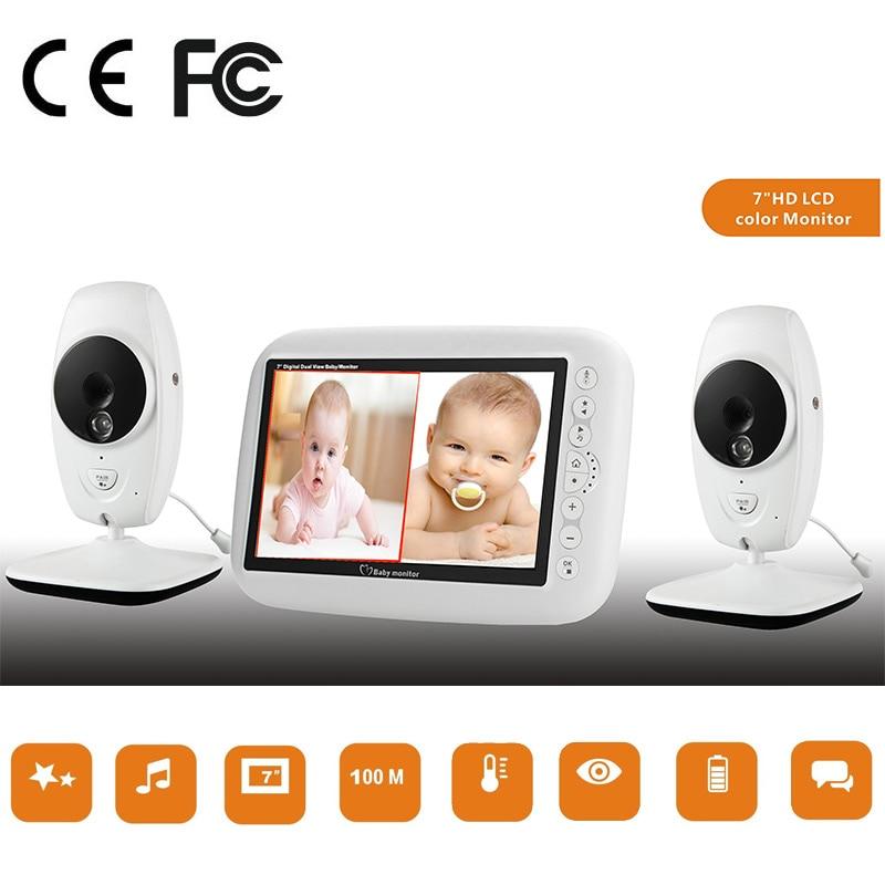 Monitor do bebê 2 câmeras de vigilância 7 polegada 720p hd rádio vídeo lcd sem fio babá vigilância de bebe multi ca