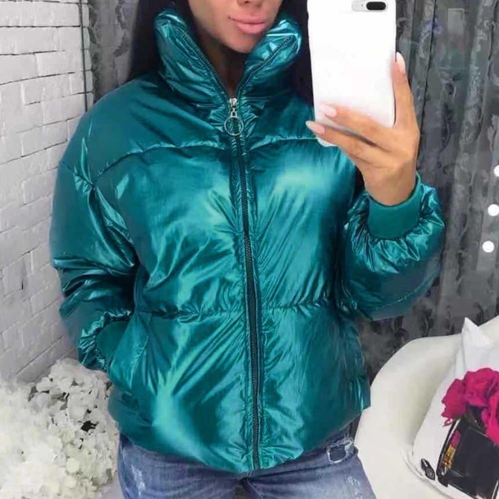2019 Inverno Lucido Imbottiture Parka Giacca Donne di Grandi Dimensioni di Spessore Caldo Imbottiture Giacca Allentato Femme Anatra Imbottiture Cappotto Impermeabile Outerwears