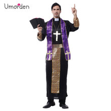Umorden Halloween Costume for Men Christian European Religious Missionaries Pastor Priest Costumes Adult Fancy Cosplay Clothing
