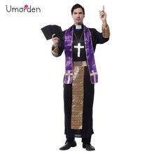 Umordenฮาโลวีนเครื่องแต่งกายสำหรับชายคริสเตียนยุโรปศาสนามิชชันนารีPastor Priestเครื่องแต่งกายแฟนซีผู้ใหญ่Cosplayเสื้อผ้า