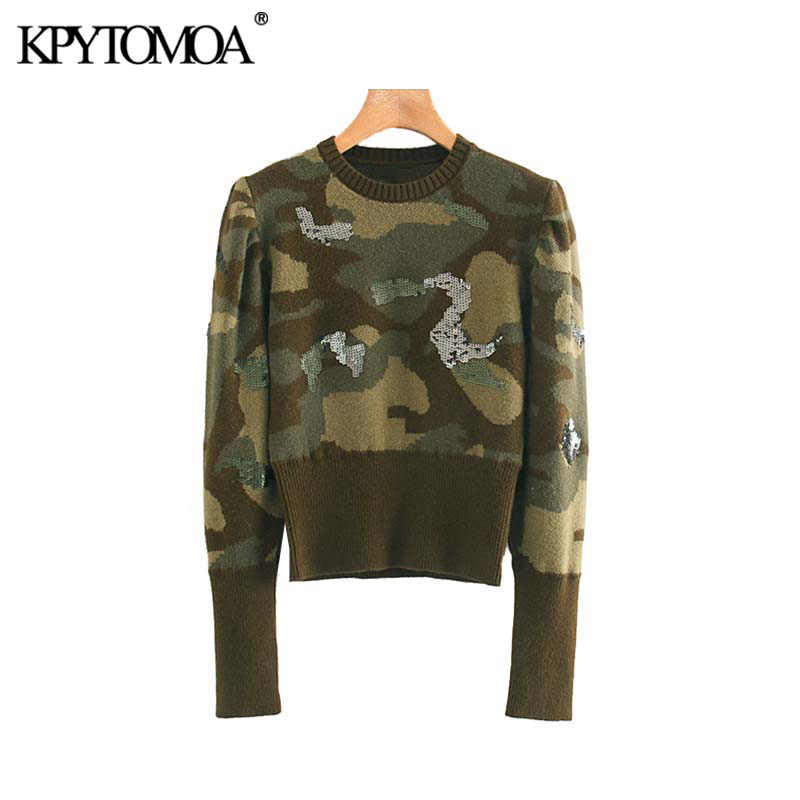 Vintage Stylish Sequined Camouflage Knitted Sweater Women 2020 Fashion Long Sleeve Stretch Slim Female Pullovers Chic Tops