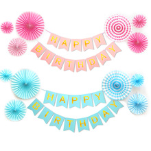 Multi Color Happy Birthday Banner Baby Shower Party Decorations Photo Booth Flags DIY Decoration G