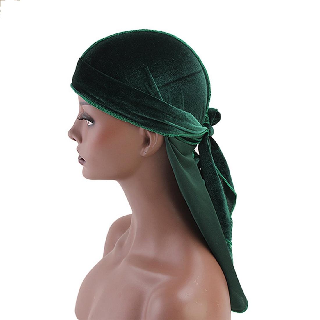 DIHOPE  Long Tail Silky Scarf Muslim Doo Rag Pirate Hat Durag Chemo Cap Skull Hat Turban Hair Band Bandanas 12 Colors For Choose