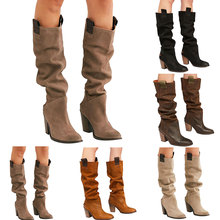 купить 2019 Women High Boots Shoes Casual Solid Color Chunky Square Heel Boots Autumn Winter Warm Mid High Boot Fall Rounded Toe Shoes дешево