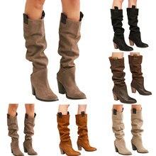 2019 botas altas para mujer zapatos casuales de Color sólido botas de tacón cuadrado grueso otoño invierno cálido botas altas otoño zapatos de punta redondeada