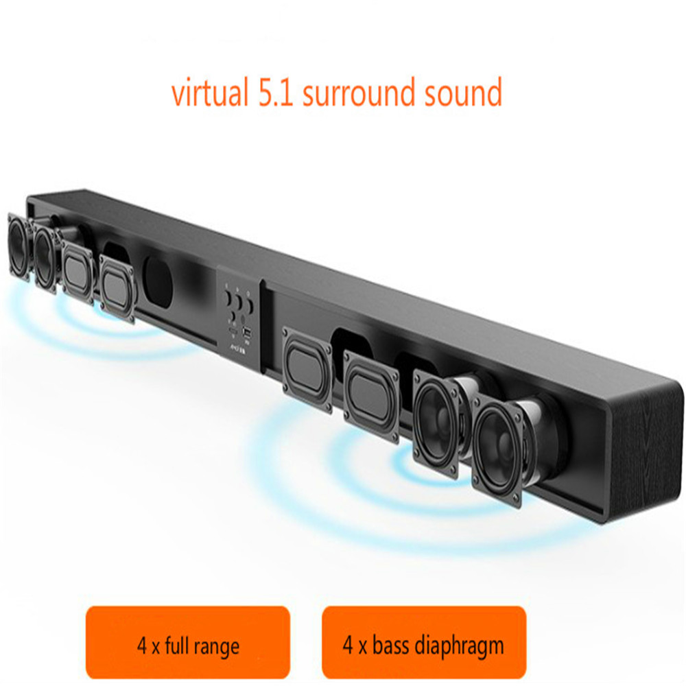 Column Soundbar Audio-System Cinema Remote-Support Wooden Home Theater Wireless 60W RCA title=