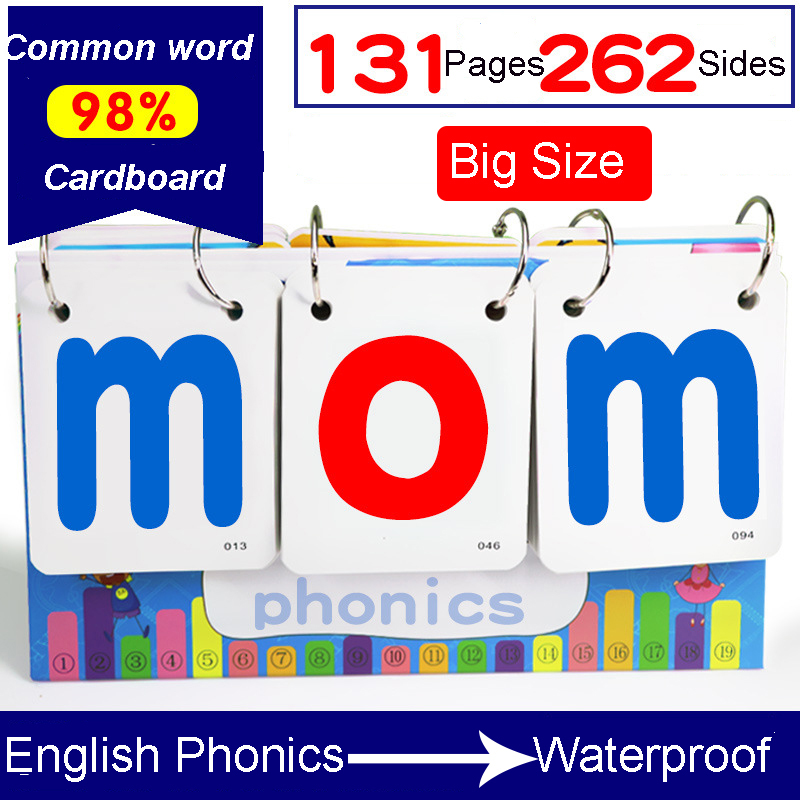 131Pcs/Set English Phonics Spelling Desktop Calendar Learning Language Flash Word Card Education Toys For Children Kids Gifts