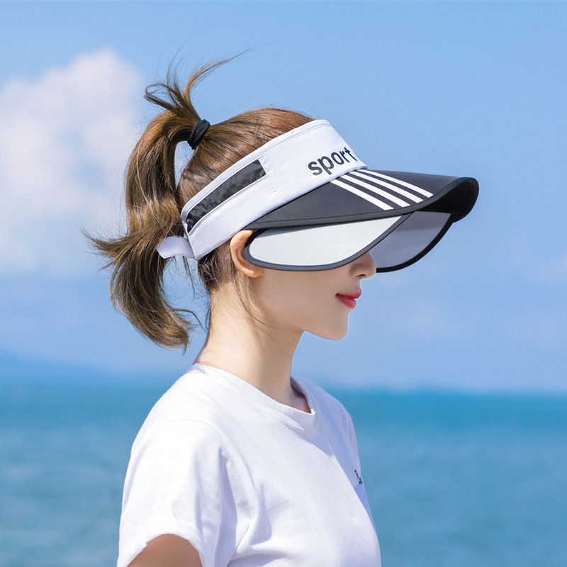 2020 new style sun virsors sports print sun hats for women wide brim beach hat UV protection female cap