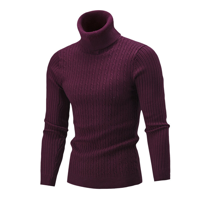 Men Fashion Casual Solid Color Turtleneck Knit Tops Male Winter Warm Long Sleeve Pullover Sweater