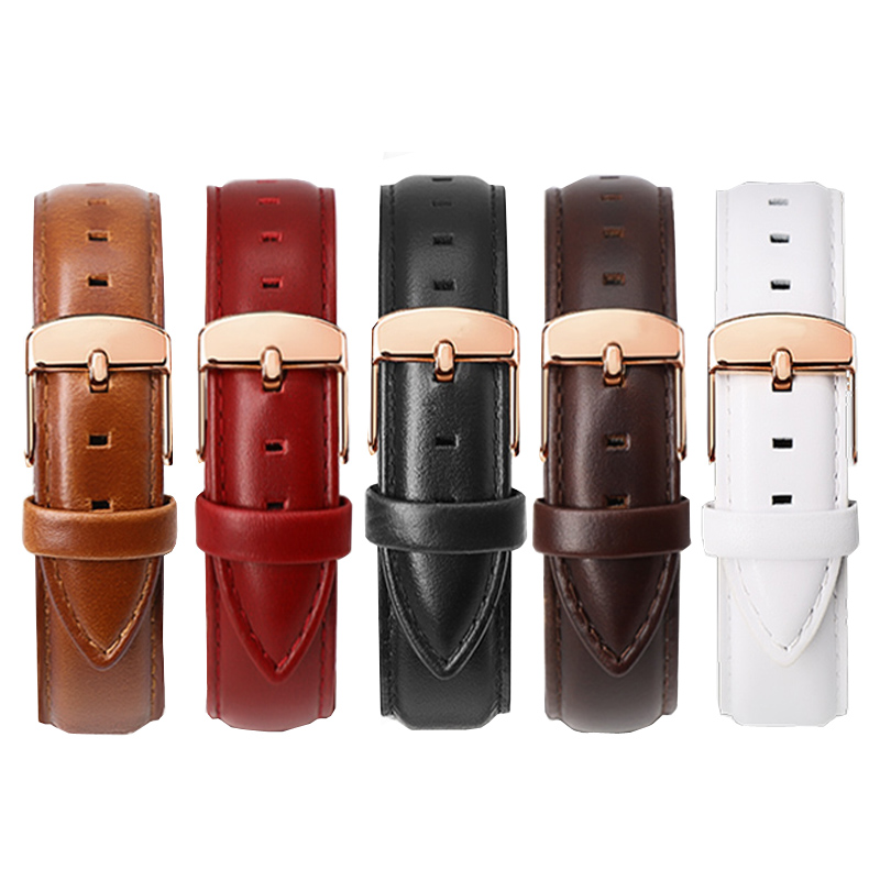 Watchbands Substitute Dw Watch Strap Genuine Leather Men And Women Black Red White Brown Leather Belt Universal Watch Bracelet