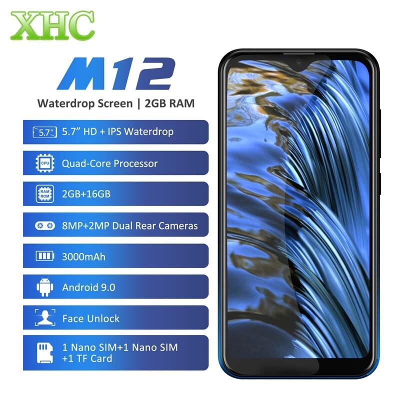 LEAGOO M12 Android 9.0 Mobile Phone RAM 2GB ROM 16GB 5.7'' Waterdrop Smartphone Quad Core Dual SIM LTE 4G 8.0MP Camera Cellphone