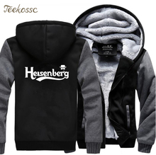 Adult Breaking Bad Heisenberg Hoodies Men 2018 Winter Fleece Zipper Hooded Hoodie Thick Sweatshirts Top Quality Hoody Black Coat