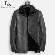 Good Mink Fur Lined Coat Men Winter Warm Casual Leather Sheepskin Jackets Top Quality Real Sheepskin Leather Outwear