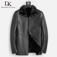 Outwear Lined-Coat Sheepskin-Jackets Mink-Fur Winter Men Casual Warm Good Top-Quality