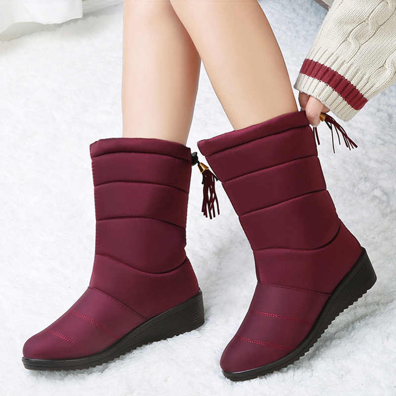 Women Boots 2019 Winter Boots Shoes Woman Waterproof Snow Boots With Wedge Heels  Winter Shoes Plus Size 44 Mid Calf Botas Mujer