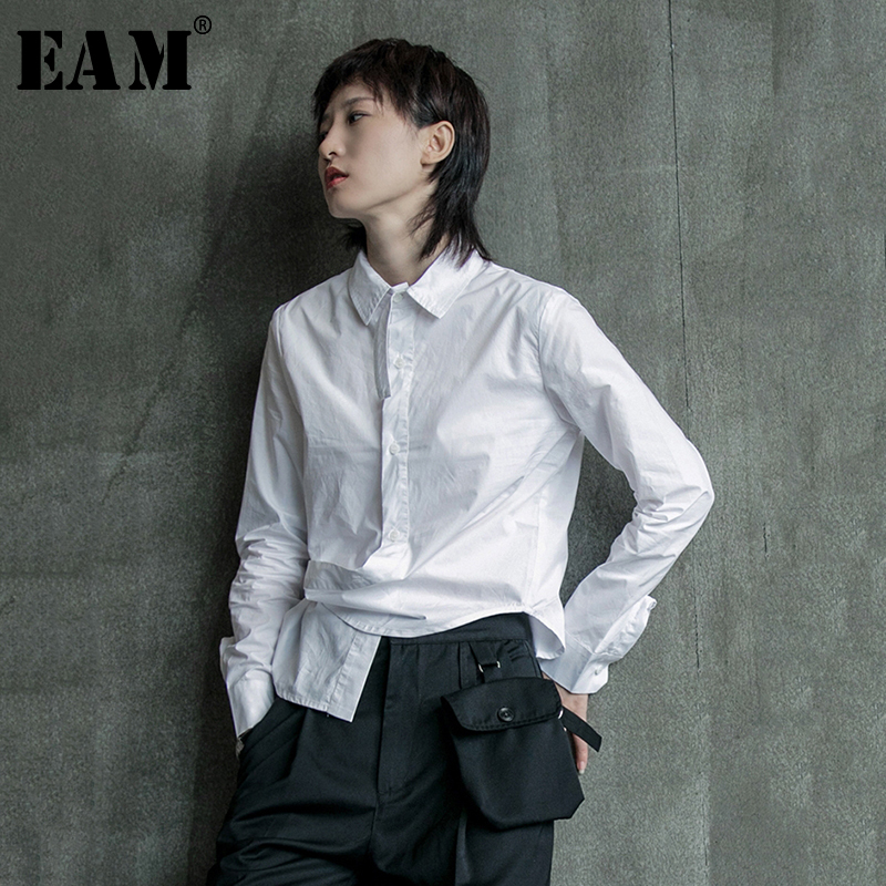 [EAM] Women Black White Irregular Split Joint Blouse New Lapel Long Sleeve Loose Fit Shirt Fashion Tide Spring Autumn 2020 1B205