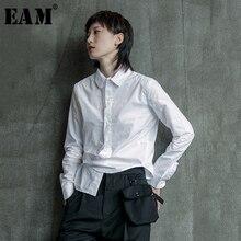 [EAM] kobiety czarny biały nieregularne podziel wspólne bluzka nowa z klapami z długim rękawem luźna koszula moda fala wiosna jesień 2020 1B205