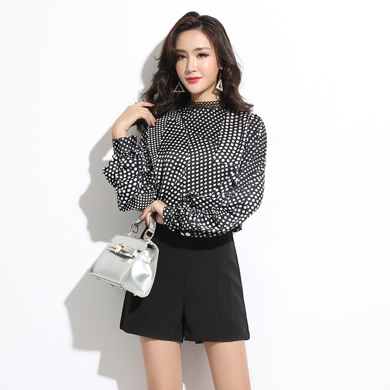 2020 WOMEN  Autumn Korean New Women's Long-sleeved Base Loose Shirt Polka Dot Lace Stand-up Collar Chiffon Shirt Women