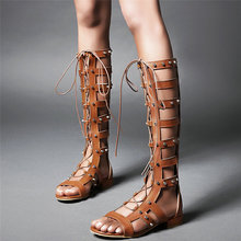 Rivet Casual Shoes Women Lace Up Straps Low Heel Knee High Gladiator Roman Sandals Female Open Toe Platform Summer Oxfords Shoes 2018 summer sandals shoes women high heel casual shoes footwear flip flops open toe platform gladiator sandals women shoes y48w