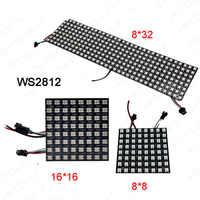 Оптовая продажа WS2812B экран панели; 8*8/16*16/8*32 пикселей DC5V полноцветный 256 пикселей цифровая программированная светодиодная полоса с адресом э...
