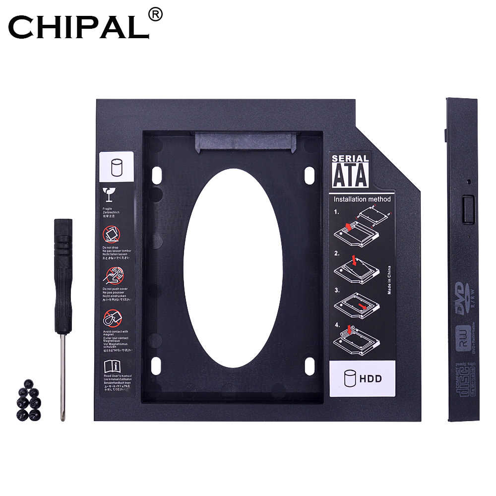 CHIPAL Universal Second 2nd HDD Caddy 9.5mm 9mm SATA 3.0 dla 2.5 ''SSD futerał na dysk twardy adapter do laptopa CD-ROM DVD ROM Optibay