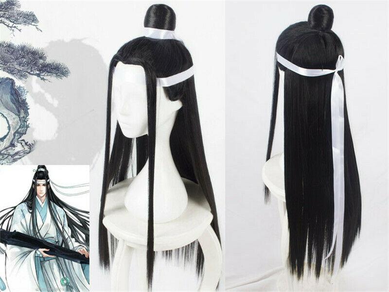 Grandmaster Of Demonic Cultivation Lan Wangji Long Black Cosplay Hair Wig