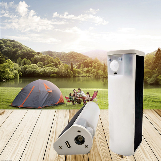 Portable LED Solar Light Outdoor/Indoor Soptlight Sensor Motion Light Waterproof 4 Modes House Camping Tent USB Emergency Light 1