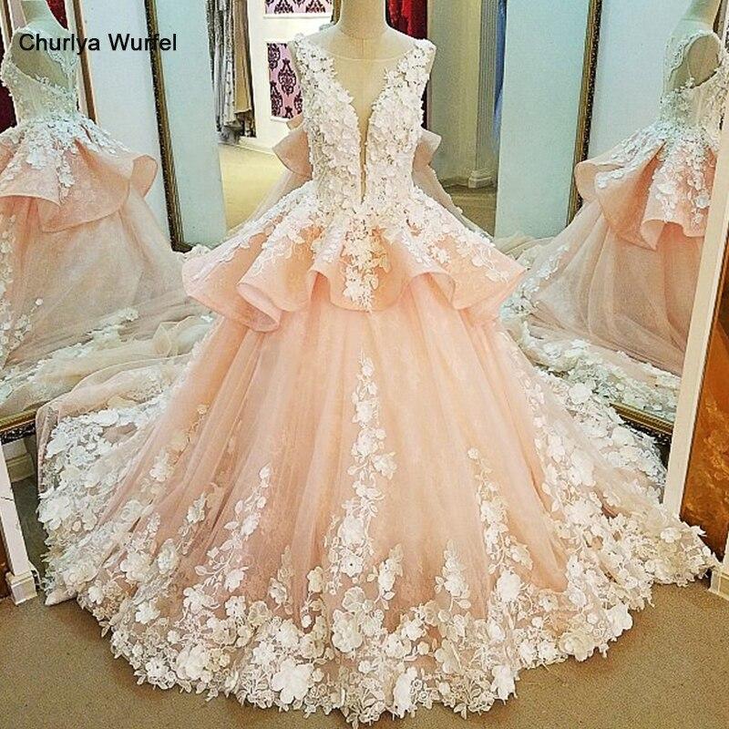 LS91123 Evening Dresses Long 3D Flowers Lace Long Party Dress Ball Gown Pink Abendkleider 2017 Robe De Soiree Real Photos