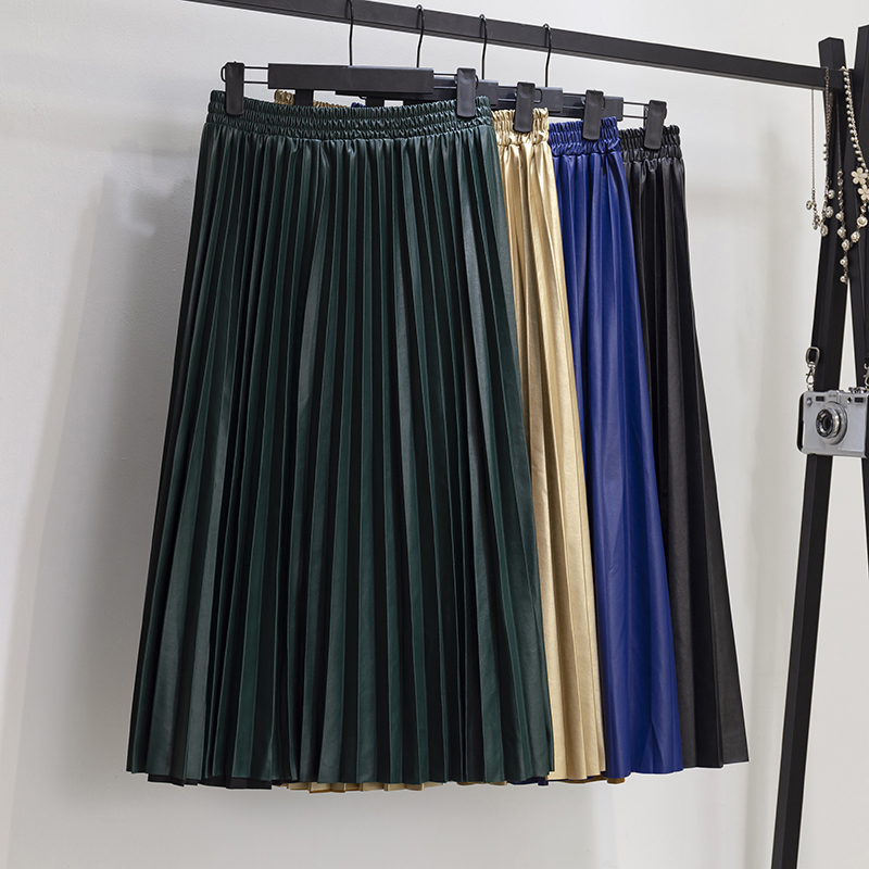 2020 New Autumn Women's Wild Casual Solid Color PU Leather Pleated Skirt Stretch High Waist