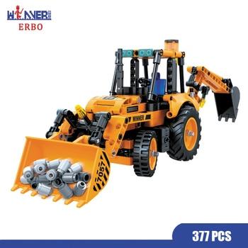 ERBO 377 Pcs Technology Backhoe Loader Car DIY Building Blocks City Model Bricks Car Toys for Children Toys Educational Gift