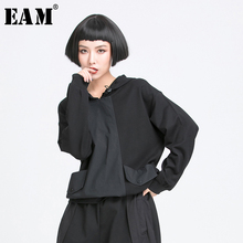 [EAM] Women Black Pocket Split Joint Drawstring Big Size T-shirt New Hooded Long Sleeve  Fashion Tide  Spring Autumn 2021 1Y772