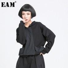EAM-Camiseta de manga larga con cordón para mujer, ropa con bolsillo negro, con cordón, con capucha, a la moda, primavera y otoño, 2021, 1Y772