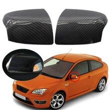 Cubierta de espejo de puerta de ala de coche, 2 uds., funda carcasa para Ford Focus MK2 2005 2006 2007 2008, estilo de fibra de carbono ABS, tapa de espejos retrovisores