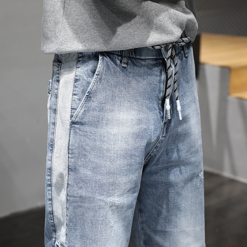 KSTUN Jeans Men Light Blue Elastic Waist Trendy Side Buttons Streetwear Drawstring High Quality Brand Jeans Male Joggers Pants 18