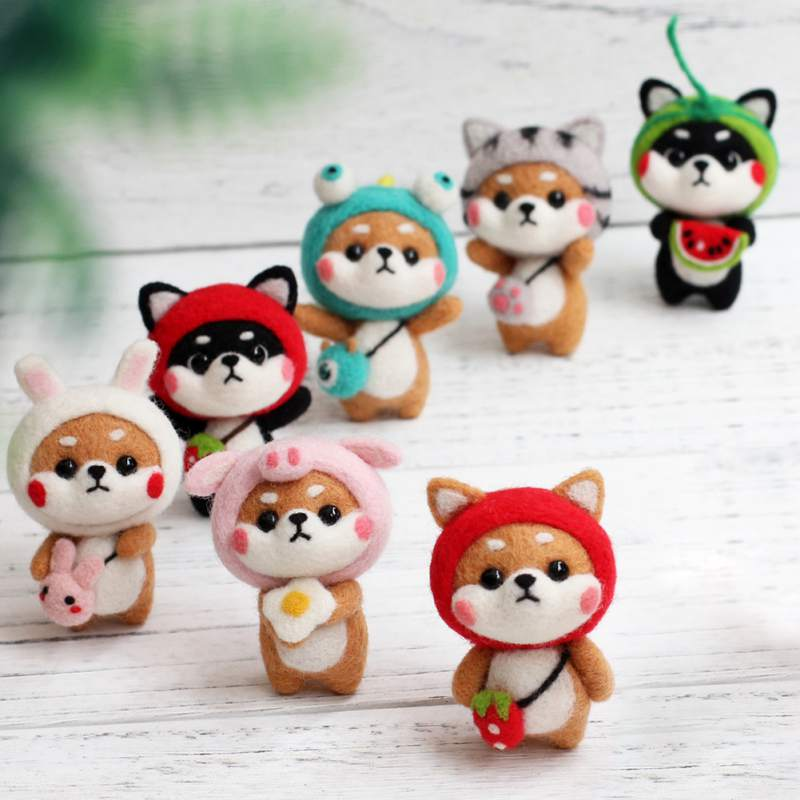 Cat Dog Doll With Strawberry Panda Wool Felt Craft DIY Non Finished Poked Set Handcraft Kit For Needle Material Bag Pack