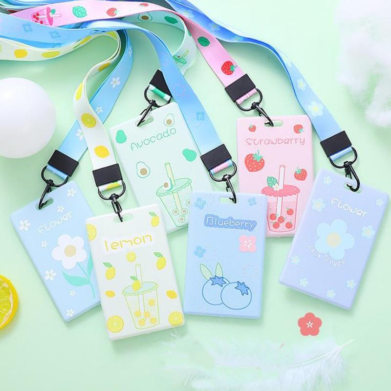1 Pcs Cartoon Fruits Avocado Strawberry Peach Flower Badge Card Case With Lanyard Bank Credit ID Card Holders Korean Stationery