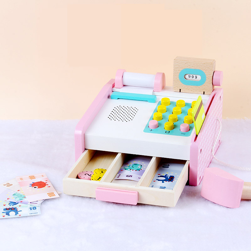 19*15CM Wooden Children Learning&Educational Toys Simulation Cash Register Shopping Desk Pretend Play Toy Girls Gifts