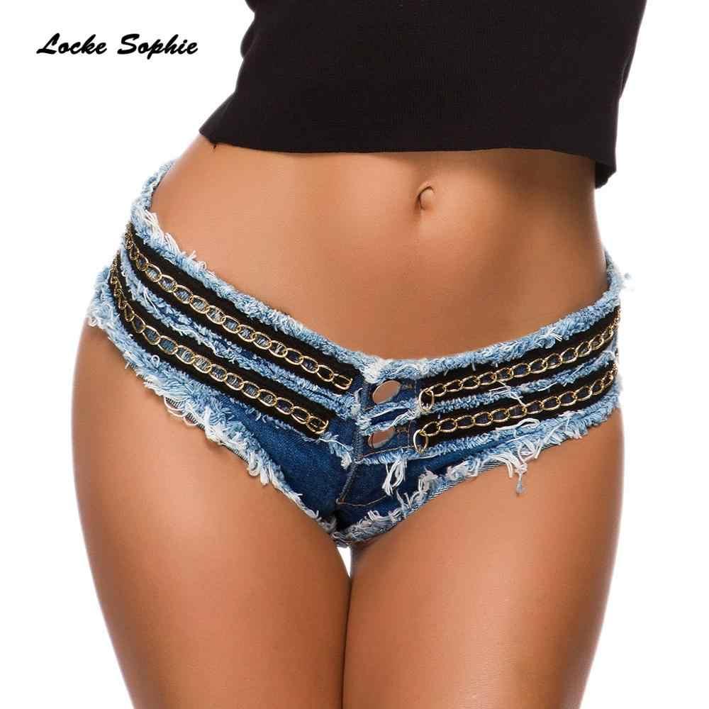 Lage taille Sexy vrouwen jeans denim shorts 2019 Zomer denim katoen gat keten Splicing Dames Skinny Sexy super korte jeans