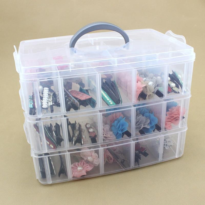 Storage-Box 3-Layer Detachable Jewelry-Screws Sundries-Organizers Plastic Transparent