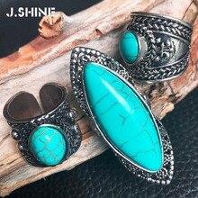 JShine Vintage Retro tibetano plata anillos grandes para mujeres con piedra Natural tres tipos bohemio anillo joyería