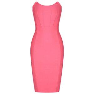 Image 3 - Ocstrade Womens 여름 붕대 옷 새 도착 2019 Strapless 핑크 붕대 드레스 Bodycon 섹시한 나이트 클럽 파티 드레스