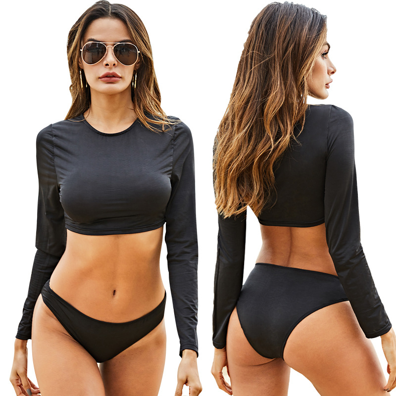 Long-sleeved Round Collarlow-waist Sexy Women's Hot Spring Beach Two-piece Swimsuit Black Bikini Setautumn Winter Sun Protection